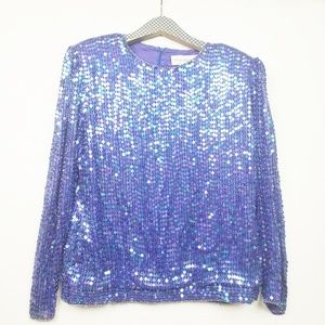 Vintage Silk Hand Beaded and Sequin Blouse